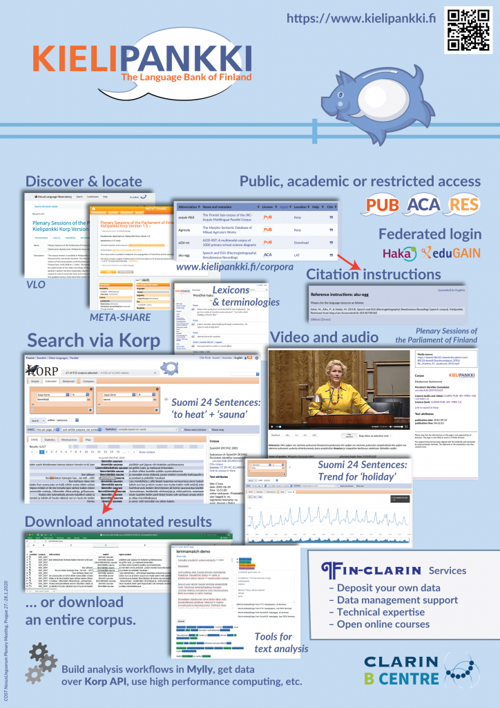 Poster of the Language Bank of Finland (Kielipankki)