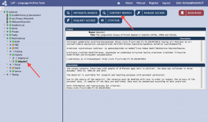 Ruutukaappaus LATista: valitse korpus ja klikkaa Content search