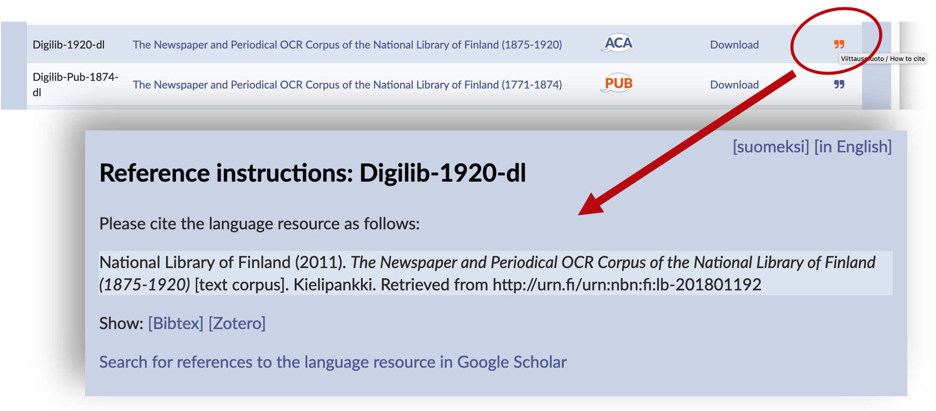 How to locate reference instructions on the list of corpora