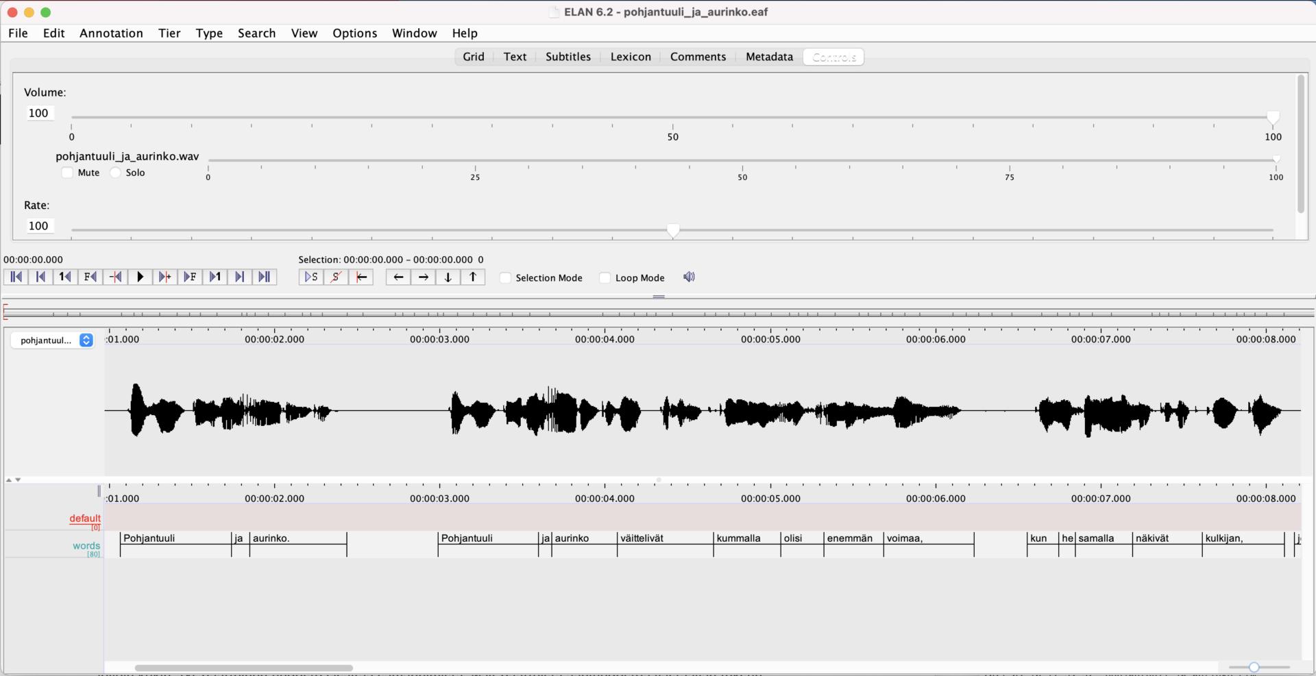 Kuvakaappaus ELAN-ohjelmalla avatusta tiedostosta, jossa Pohjantuuli ja aurinko-tarinan saneet on kohdistettu äänitiedoston vastaaviin kohtiin.